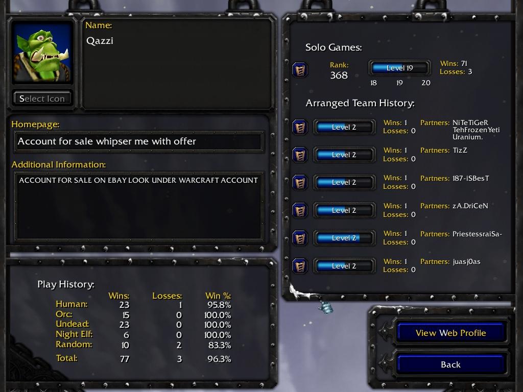 Warcraft 3 Account: Qazzy